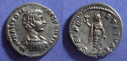 Ancient Coins - Roman Empire, Caracalla (Caesar) 196-8, Denarius