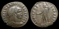 Ancient Coins - Galerius, as Caesar. Bi Follis, AD 296-8. Heraclea. 2nd Officina. Genius. VF