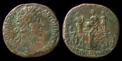 "Ancient Coins - Commodus, 177-192 AD. Bronze sestertius, ""platform scene"". Purchased Jan 29, 1970"