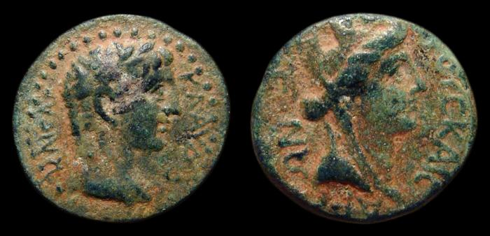 Ancient Coins - Claudius, AE-19. Uncertain Mint in Cilicia or Syria. Year 3. Rx./ Turreted Head of Tyche. Rare!