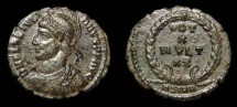 Ancient Coins - Julian II, AE-3. Sirmium. Vows within Wreath. Nice EF