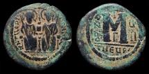 Justin II & Sophia. AE-Follis, RY 7 (AD 571-2). Antioch
