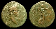 Ancient Coins - Macedonia, Thessalonica. Commodus. AE-27. Rx./ Nike Advancing rt. VF