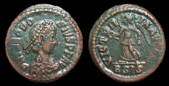 Ancient Coins - Theodosius I, AE-4. Siscia. Victory. Nice VF