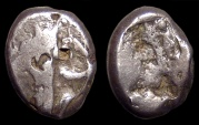 Ancient Coins - Lydia, Persian Rule. AR Siglos. Great-King / Incuse Punch