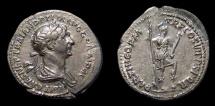Ancient Coins - Trajan, AR Denarius, AD 117. Virtus. Nice EF