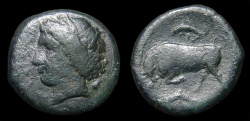 Ancient Coins - Sicily, Syracuse. Hieron II. AE-22. Kore / Butting Bull & Dolphins