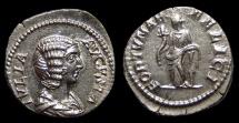 Ancient Coins - Julia Domna, AR Denarius. AD 210. Rome. Fortuna. EF