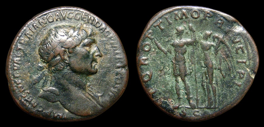 Ancient Coins - Trajan. AE-Sestertius, AD 107. Rome. Victory Crowning Emperor. VF