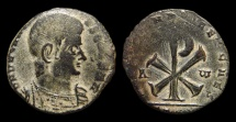 Ancient Coins - Decentius, AE-Centenionalis. Trier. Chi-Rho. Nice Patina!
