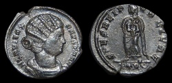 Ancient Coins - Fausta, AE-Follis. AD 326. Trier. 1st Off. Empress w/ 2 Children. EF