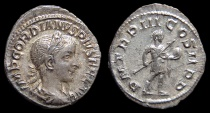 Ancient Coins - Gordian III, AR Denarius. AD 241. Rome. Emperor. EF