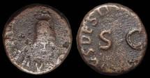 Ancient Coins - Claudius, 41-54 AD. Bronze quadrans. Modius / SC