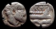 Phoenicia, Arados. AR Obol. Head of Marine Deity / Galley