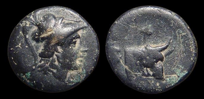 Ancient Coins - Mysia, Pergamon. AE-16. Athena / Head & Neck of Bull