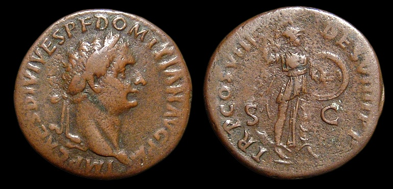 Ancient Coins - Domitian, AE-As. AD 82. Rome. Minerva. aVF