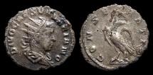 Ancient Coins - Divo Valerian II, AR Antoninianus, AD 258. Rome. Eagle. VF