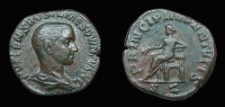 Ancient Coins - Hostilian, as Caesar. AE-Sestertius, AD 251. Rome. Apollo. VF