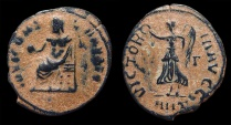 Ancient Coins - Anonymous Pagan Issue under Maximinus II. AE-1/4 Follis. Antioch. Jupiter / Victory. VF