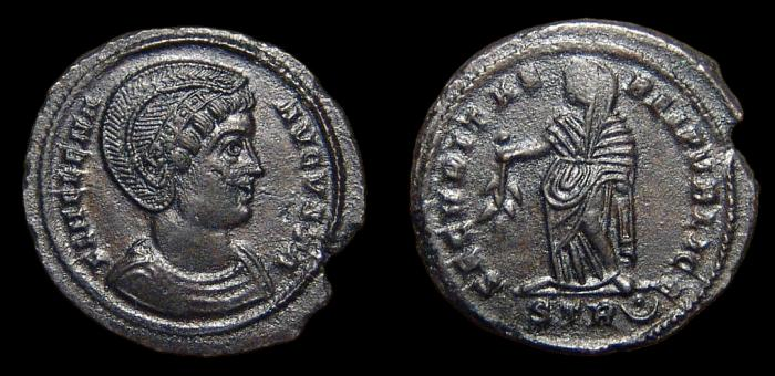 Ancient Coins - Helena, AE-Follis. AD 326. Trier. 2nd Off. Securitas. EF