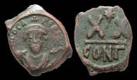 Ancient Coins - Phocas, AE-20 Nummia (1/2 Follis). Constantinople.