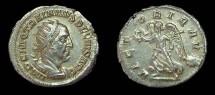 Ancient Coins - Trajan Decius. AR Antoninianus, AD 250-1. Victory. Lusterous EF