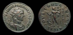 Ancient Coins - Maximianus, Antoninianus, AD 290-1. Ticinum. Jupiter w/ Standards. VF, pleasing style!