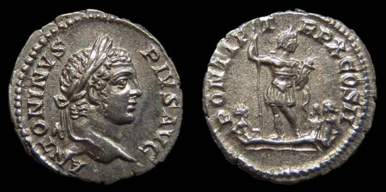 Ancient Coins - Caracalla, AR Denarius. AD 207. Rome. Caracalla stg. w/ The River-Gods Rhenus & Danubus and a Germanic Captive. Near EF