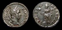 Ancient Coins - Carcalla, AR Denarius. AD 209. Liberalitas. EF