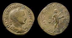 Ancient Coins - Gordian III, 238-244 AD. Huge brass sestertius, struck 242-243 AD