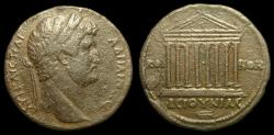 Ancient Coins - A Large Bronze of Hadrian. AE-33. Koinon, Bithynia. Octastyle Temple