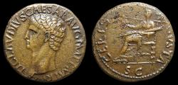 Ancient Coins - Claudius, AE-Dupondius. Rome. Ceres Seated
