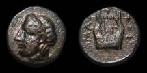 Ancient Coins - Troas, Hamaxitos. AE11. Apollo / Kithara or Lyre. Nice VF