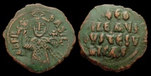 Ancient Coins - Theophilus, AE-Follis. Constantinople. Facing Bust of Emperor. VF