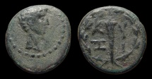 Ancient Coins - Mysia, Cyzicus. Augustus. AE-16. Torch within a wreath. VF