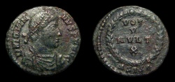 Ancient Coins - Jovian, AE-3. Siscia. 1st Officina. 2.85g. Vows. VF
