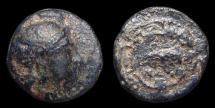 Ancient Coins - Ionia, Naulochos. AE-12. Head of Athena / Dolphin within Maeander Pattern. Scarce!