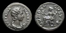 Ancient Coins - Julia Mamaea, AR Denarius. AD 231. Rome. Juno. EF