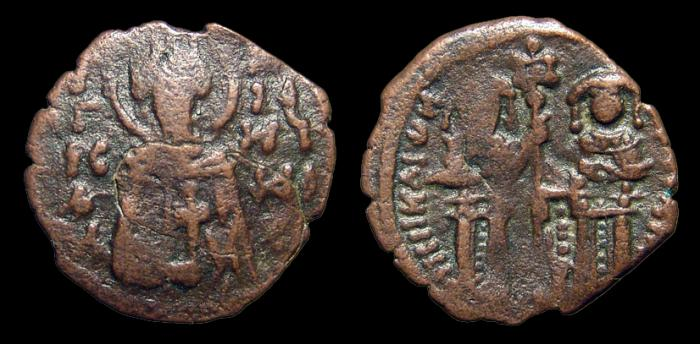 Ancient Coins - Andronicus II w/ Michael IX. AE-Assarion. Constantinople. Emperor & Michael stg. facing. aVF