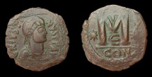 Ancient Coins - Justin I, AE-Follis. Constantinople. VF, nice style!