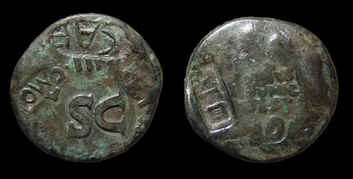 Ancient Coins - Augustus, AE-Dupondius w/ Multiple Interesting Countermarks