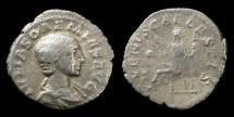 Ancient Coins - Julia Soaemias, 220-222 AD. Mother of Elagabalus. AR denarius struck 220 AD