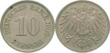 World Coins - German Empire, 10 Pfennig 1909 J, au