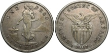World Coins - Philippines. 1907-S. 1 Peso. VF, toned.