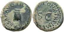 Ancient Coins - Claudius. A.D. 41-54. Æ quadrans. Rome, A.D. 41. VF, dark green patina with sandy deposits.