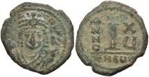 Ancient Coins - Maurice Tiberius. 582-602. Æ decanummium. Antioch, regnal year 15 (596/7). VF, sandy green patina.