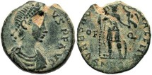 Ancient Coins - Arcadius or Honorius. Late 4th-early 5th century A.D. Æ 12 mm. Rome. Good VF, earthen green patina, flan flaw. Scarce.