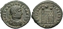 Ancient Coins - Constantine II. As Caesar, A.D. 316-337. Æ reduced follis. Heraclea. VF.