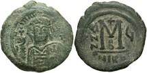 Ancient Coins - Maurice Tiberius. 582-602. Æ follis. Nicomedia, regnal year 6 (587/8). VF, green patina.