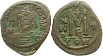 Ancient Coins - Maurice Tiberius. 582-602. Æ follis. Constantinople. Near VF, brown patina, obverse slightly double struck.